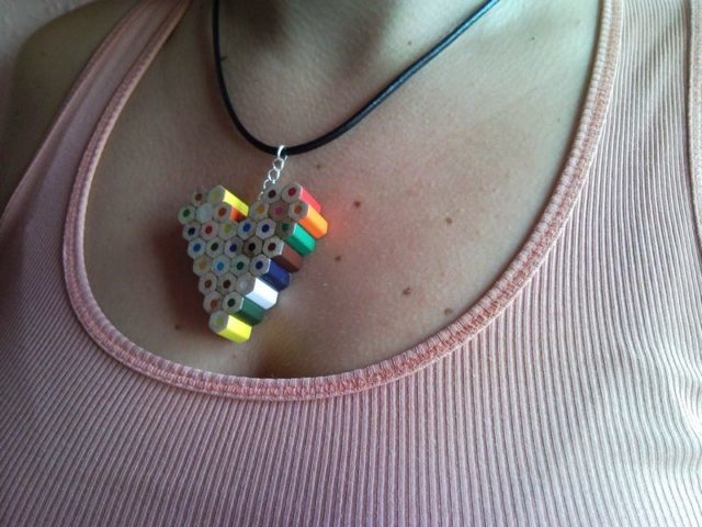 Coloured heart pencil, crayon necklace pendant