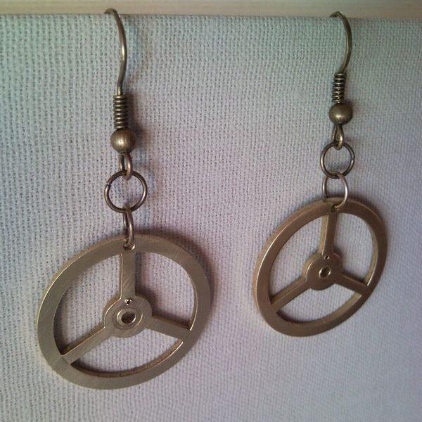 Mercedes Benz emblem symbol clockwork earrings
