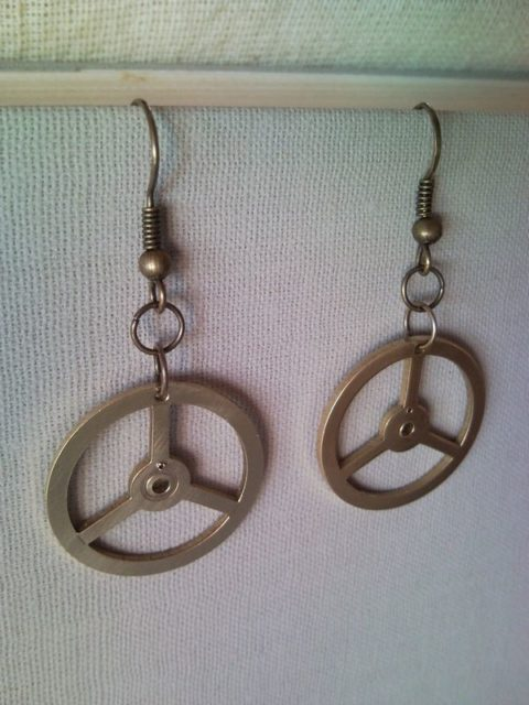 Mercedes Benz emblem symbol clockwork earrings