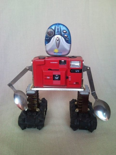 Upcycled junk asculpture photo camera robot machinery, home decor