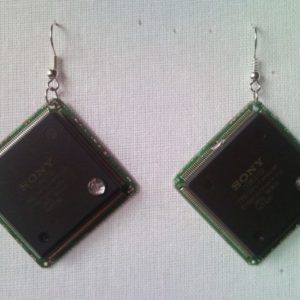 Recycled microchip PCB geekery earrings with strass 11.
