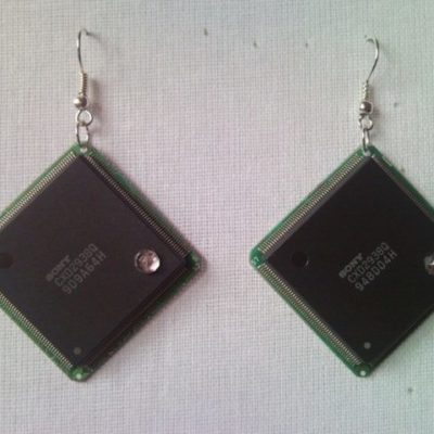 Recycled microchip PCB geekery earrings with strass 12.