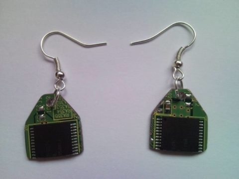 Recycled microchip PCB geekery earrings 1.