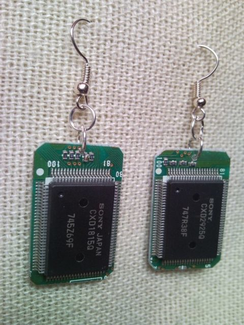 Recycled microchip PCB geekery earrings 2.