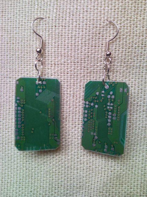 Recycled microchip PCB geekery earrings 2.