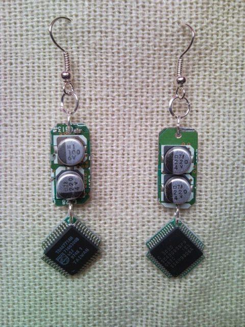 Recycled microchip PCB geekery earrings 3.