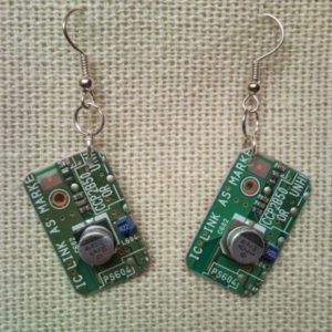 Recycled microchip PCB geekery earrings 4.
