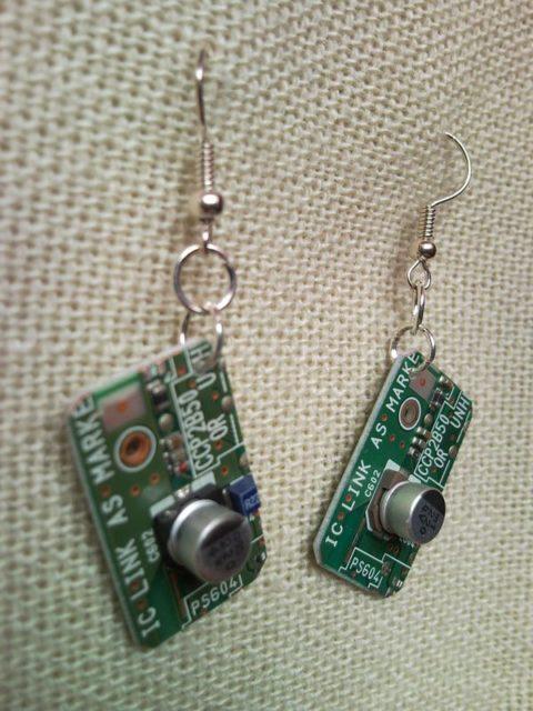 Recycled microchip PCB geekery earrings 4.
