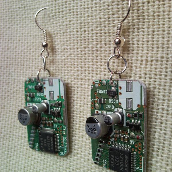Recycled microchip PCB geekery earrings 5.