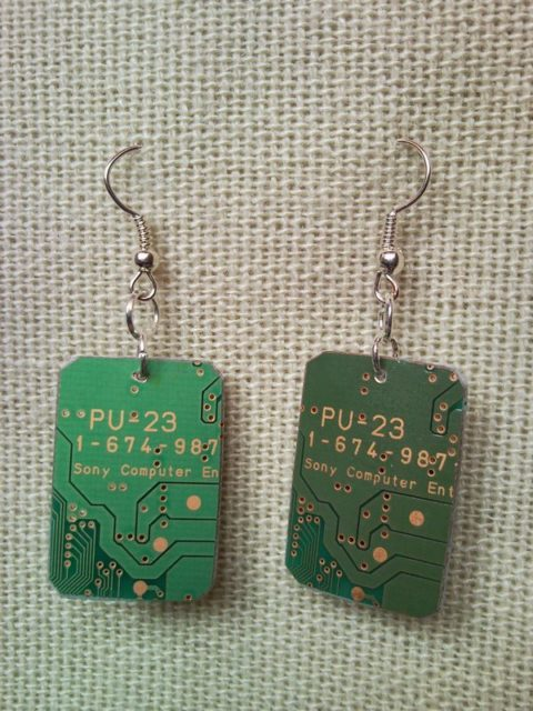 Recycled microchip PCB geekery earrings 5.
