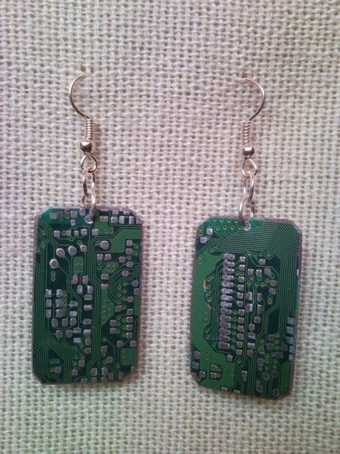 Recycled microchip PCB geekery earrings 7.