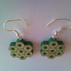 Green flower shape pencil crayon earrings 1.
