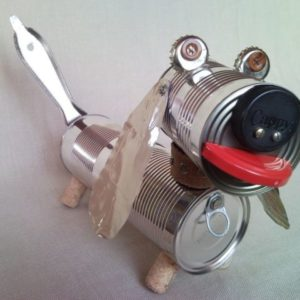 Recycled dachshund dog, puppy, junk sculpture, home decoration 2.