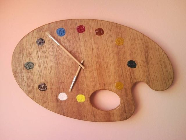 Painter palette artistic wall clock with white brush clock ...