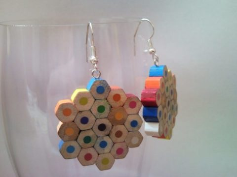 Flower shaped coloured pencil crayon earrings 2.