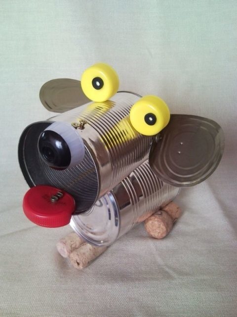 Tin can puppy dog, recycled sculpture, junk art, home decor 2.
