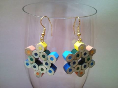 Snow flake shaped coloured pencil crayon earrings 2.