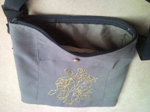 Shoulder bag from military uniform with gold flower 2.