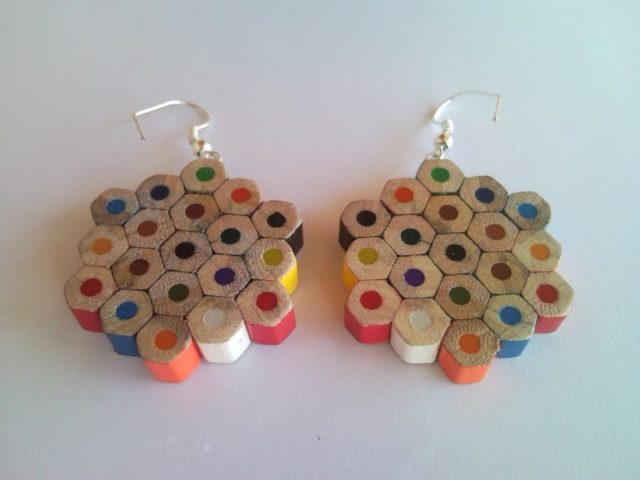 Flower Shaped Coloured Pencil Crayon Earrings 2