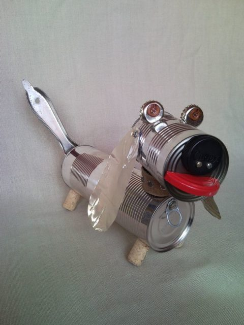 Recycled Dachshund Dog Puppy Junk Sculpture Home Decor 2