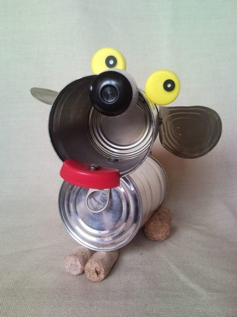 Tin Can Puppy Recycled Dog Sculpture Junk Art Home Decor 2