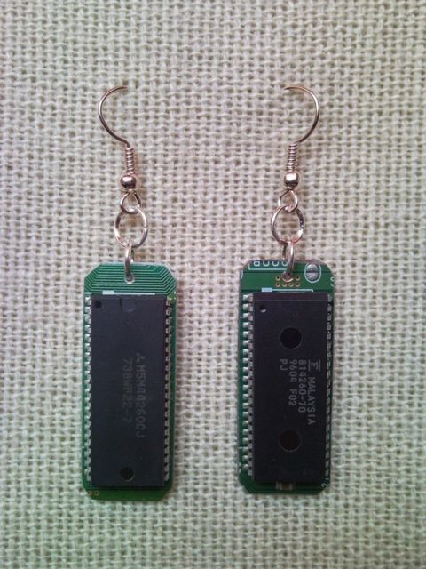 Recycled microchip PCB geekery earrings 8.