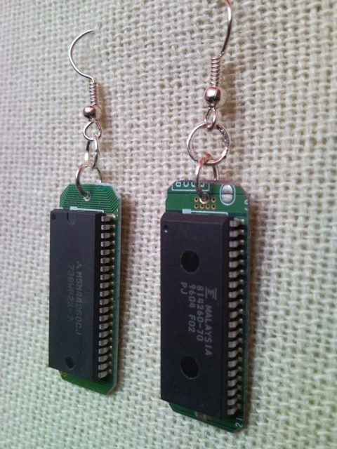 Recycled microchip PCB geekery earrings 8.