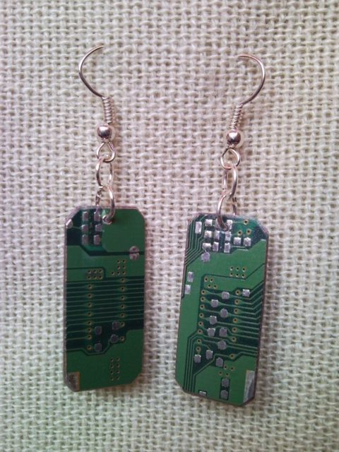 Recycled microchip PCB geekery earrings 9.