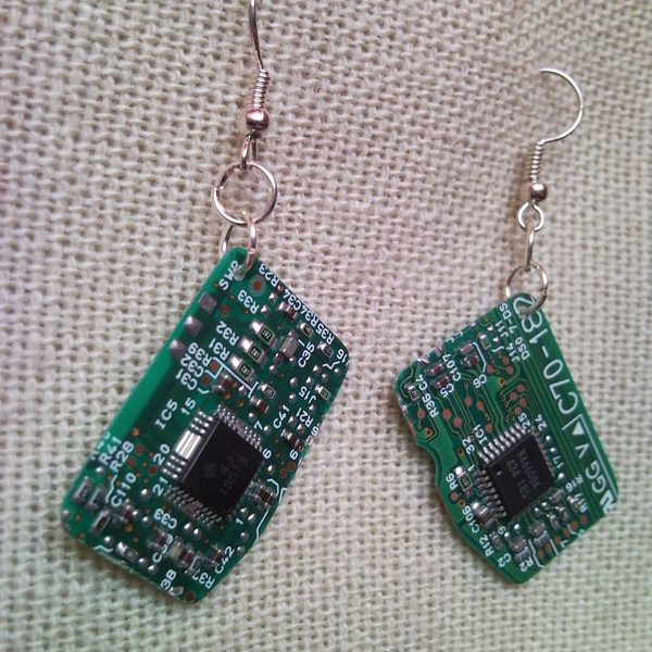 Recycled microchip PCB geekery earrings 11.