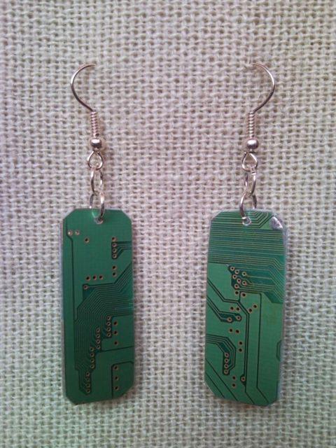 Recycled microchip PCB geekery earrings 12.