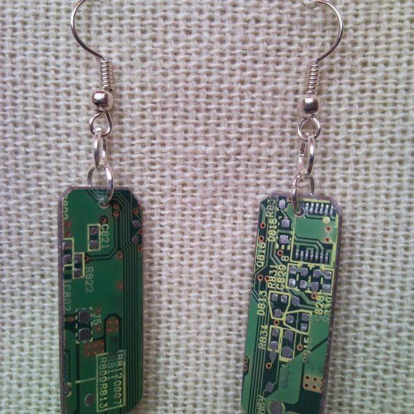 Recycled microchip PCB geekery earrings 14.