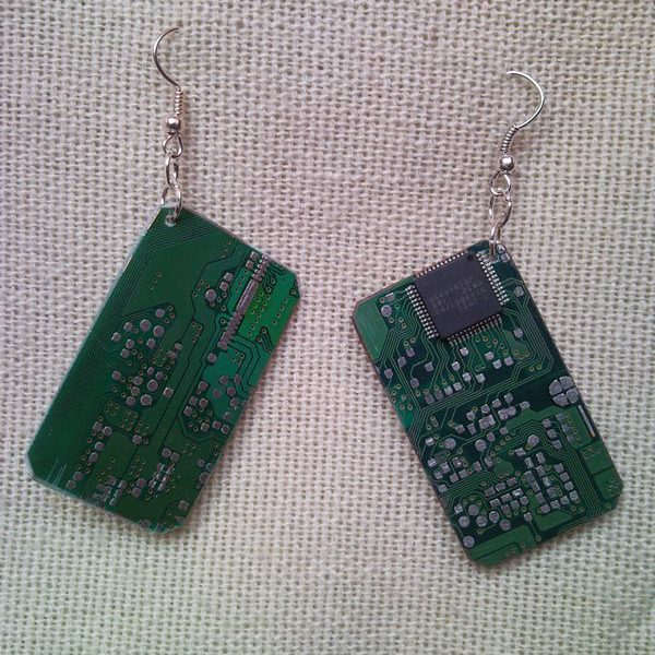 Recycled microchip PCB geekery earrings 15.