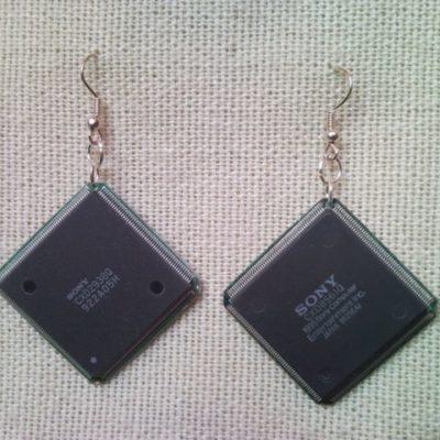 Recycled microchip PCB geekery earrings 16.