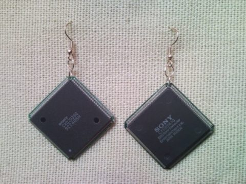 Recycled microchip PCB geekery earrings 16.