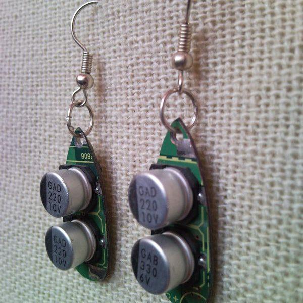 Recycled microchip PCB geekery earrings 17.