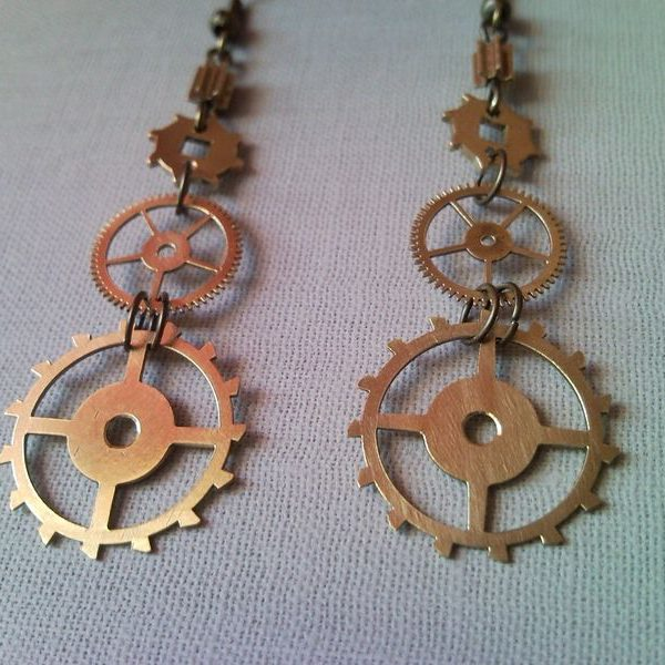Steampunk style earrings from clockwork gear 3.