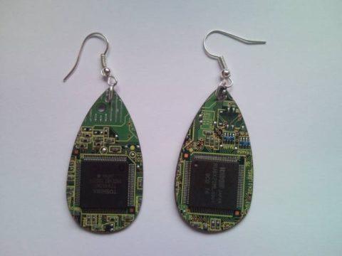 Recycled microchip PCB geekery earrings 18.
