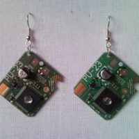 Recycled microchip PCB geekery earrings with strass 6.