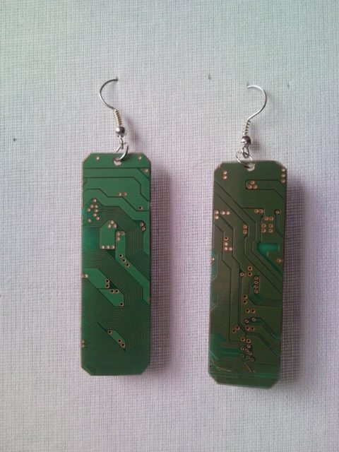 Recycled microchip PCB geekery earrings with strass 8.
