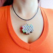 Flower shaped rainbow colored pencil pendant necklace for artist art teacher painter