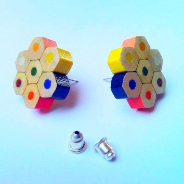 Colored pencil crayon plugable stud flower earrings for art teacher artist painter