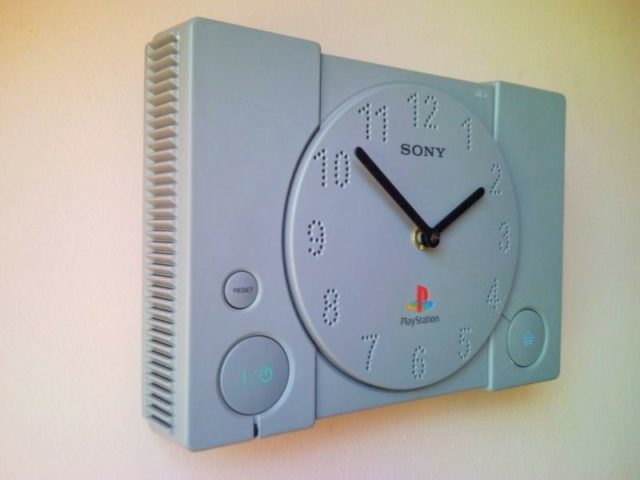 Recycled Sony PlayStation PS1 retro video game console wall clock 3.