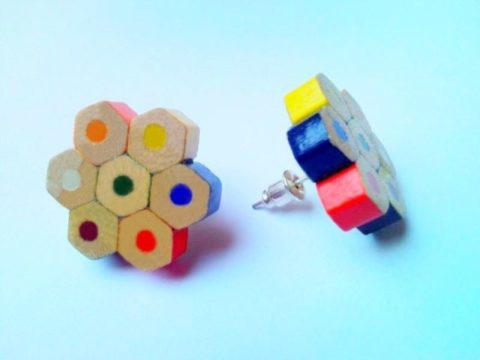 Colored pencil crayon plugable stud flower earrings for art teacher artist painter