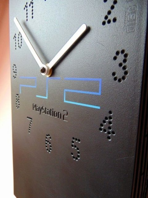 Recycled Sony PlayStation PS2 fat retro video game console wall / desk clock 5.