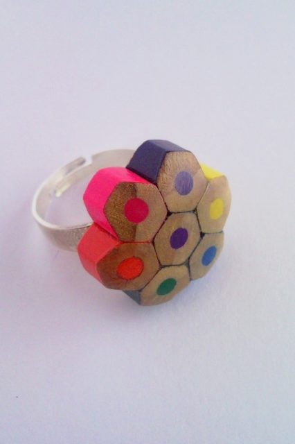 Colored pencil crayon adjustable flower shaped ring - slim style