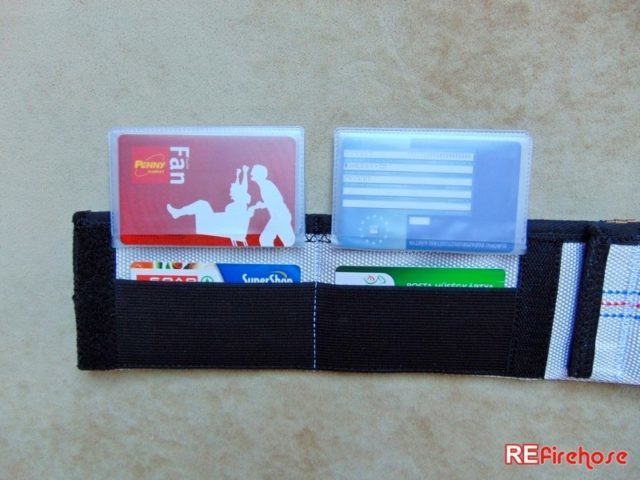 Card holder for business credit card from fire hose for firefighter fireman