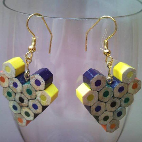 Heart shaped coloured pencil crayon earrings