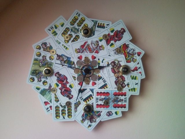 Colourful Upcycled Wall Clock From Playing Card And Coins