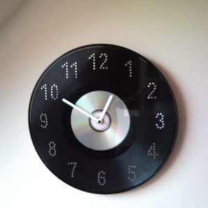 Disc jockey wall clock from vinyl LP record and CD, DVD
