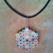 Coloured flower pencil, crayon necklace pendant